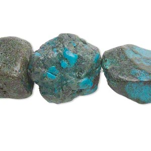 bead, turquoise (dyed / stabilized), medium to large rough nugget, mohs hardness 5 to 6. sold per 16-inch strand.