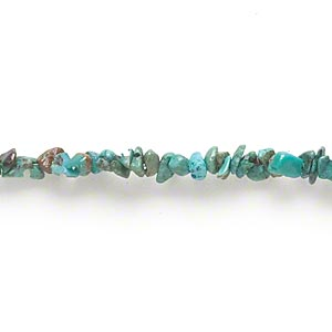 bead, turquoise (dyed / stabilized), mini chip, mohs hardness 5 to 6. sold per 15-inch strand.