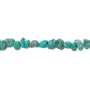 bead, turquoise (dyed / stabilized), small chip, mohs hardness 5 to 6. sold per 16-inch strand.