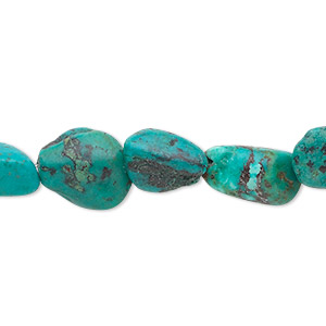 bead, turquoise (dyed / stabilized), small to medium nugget, mohs hardness 5 to 6. sold per 16-inch strand.