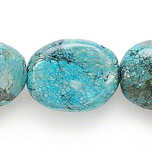 bead, turquoise (dyed / waxed), 26x22mm-37x32mm graduated flat oval, c grade, mohs hardness 5 to 6. sold per 16-inch strand.