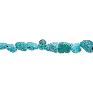 bead, turquoise (dyed / waxed), blue, small chip and mini to small nugget, mohs hardness 5 to 6. sold per 15-inch strand.