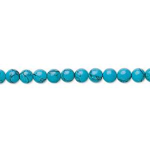 bead, turquoise (imitation), 4mm round. sold per 16-inch strand.