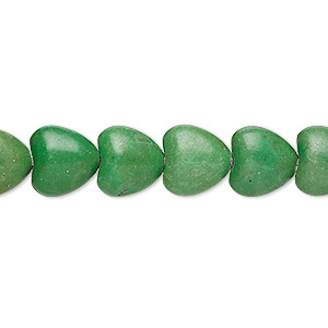 bead, turquoise (imitation), apple green, 10x10mm puffed heart. sold per 15-inch strand.