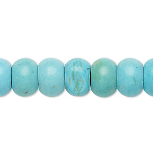 bead, turquoise (imitation), blue, 12x8mm rondelle. sold per 8-inch strand.