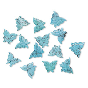 bead, turquoise (imitation), blue, 14x11mm-16x11mm carved butterfly. sold per pkg of 14.