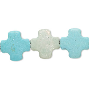 bead, turquoise (imitation), blue, 15x15mm puffed swiss cross. sold per 15-inch strand.