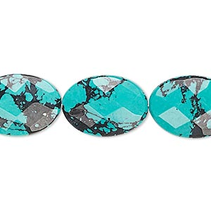 bead, turquoise (imitation), blue and black, 18x13mm faceted flat oval. sold per 8-inch strand, approximately 10 beads.
