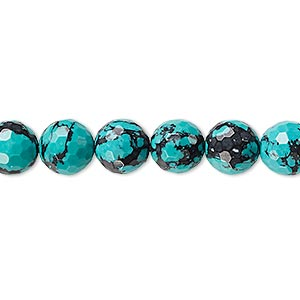 bead, turquoise (imitation), blue and black, 8mm faceted round. sold per 8-inch strand, approximately 25 beads.