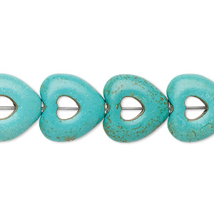bead, turquoise (imitation), blue-green, 15x14mm-15x15mm open puffed heart with 4x4mm center hole. sold per 15-inch strand.