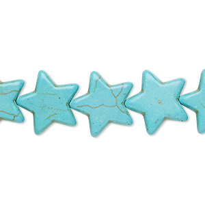bead, turquoise (imitation), blue-green, 15x14mm-16x15mm flat star. sold per 15-inch strand.
