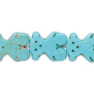 bead, turquoise (imitation), blue-green, 19x15mm-20x15mm carved flat bear. sold per 15-inch strand.