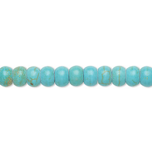 bead, turquoise (imitation), blue-green, 6x3mm-7x4mm rondelle. sold per 8-inch strand.