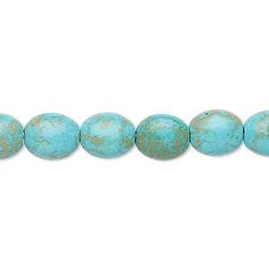 bead, turquoise (imitation), blue-green, 9x8mm-10x8mm puffed oval. sold per 15-inch strand.