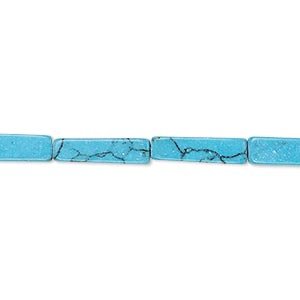bead, turquoise (imitation), dark blue, 13x3mm-15x4mm square tube. sold per 15-inch strand.