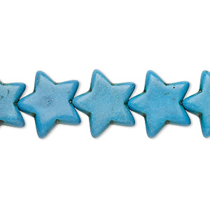 bead, turquoise (imitation), dark blue, 15x14mm-16x14mm flat star. sold per 15-inch strand.