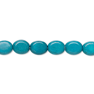 bead, turquoise (imitation), dark teal green, 9x7mm-9x8mm puffed oval. sold per 15-inch strand.