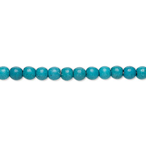 bead, turquoise (imitation), dark teal green and teal, 3-4mm round. sold per 15-inch strand.