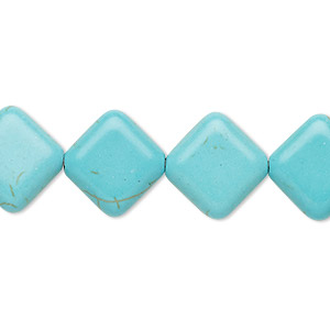 bead, turquoise (imitation), light blue, 15x15mm flat diamond. sold per 15-inch strand.