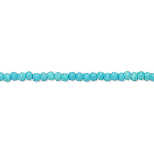 bead, turquoise (imitation), light blue, 2-3mm round. sold per 16-inch strand.
