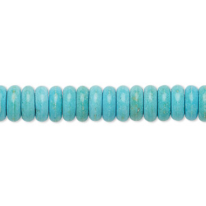 bead, turquoise (imitation), light blue, 8x3mm rondelle. sold per 8-inch strand.