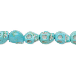 bead, turquoise (imitation), light blue, 9x7mm-10x8mm skull. sold per 15-inch strand.