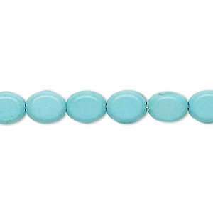 bead, turquoise (imitation), light blue, 9x7mm-9x8mm flat oval. sold per 15-inch strand.