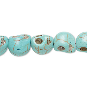 bead, turquoise (imitation), light teal green, 12x10mm-13x11mm skull. sold per 15-inch strand.