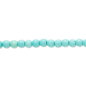 bead, turquoise (imitation), light teal green, 4mm round. sold per 15-inch strand.