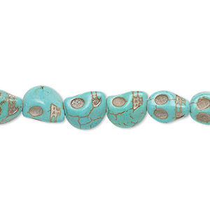 bead, turquoise (imitation), light teal green, 9x7mm-10x8mm skull. sold per 15-inch strand.