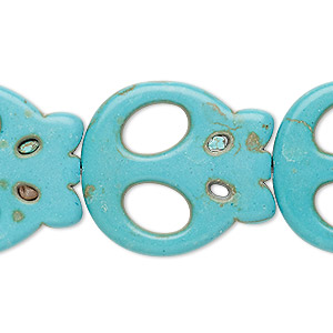 bead, turquoise (imitation), teal, 27x25mm-28x25mm flat skull. sold per 15-inch strand.