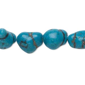 bead, turquoise (imitation), teal blue, mini to medium nugget. sold per 15-inch strand.
