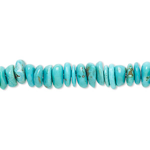 bead, turquoise (stabilized), medium chip, mohs hardness 5 to 6. sold per 16-inch strand.
