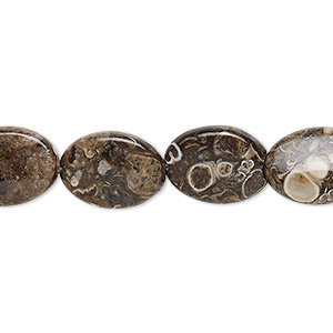 bead, turritella agate (stabilized), 14x10mm flat oval, b grade, mohs hardness 6-1/2 to 7. sold per 16-inch strand.