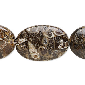 bead, turritella agate (stabilized), 30x20mm flat oval, b grade, mohs hardness 6-1/2 to 7. sold per 8-inch strand, approximately 5 beads.