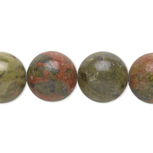 bead, unakite (natural), 14mm round with 0.5-1.5mm hole, b grade, mohs hardness 6 to 7. sold per 16-inch strand.