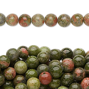 bead, unakite (natural), 6mm round, c grade, mohs hardness 6 to 7. sold per pkg of (10) 16-inch strands.