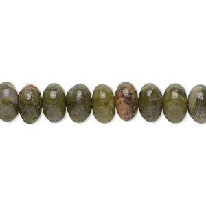 bead, unakite (natural), 8x5mm rondelle with 0.5-1.5mm hole, b grade, mohs hardness 6 to 7. sold per 16-inch strand.