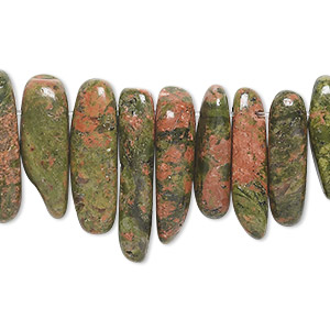 bead, unakite (natural), extra-large top-drilled hawaiian chip, mohs hardness 6 to 7. sold per 16-inch strand.