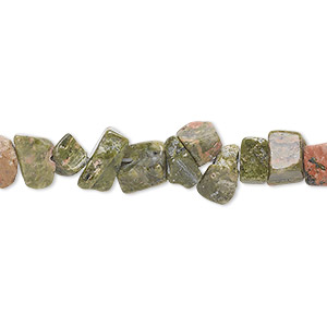 bead, unakite (natural), medium chip, mohs hardness 6 to 7. sold per 36-inch strand.