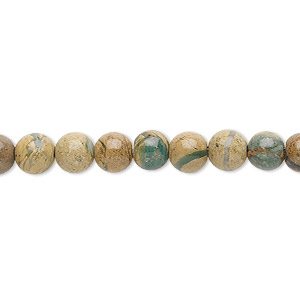 bead, verdite (natural), 6mm round, b grade, mohs hardness 3-1/2 to 4. sold per 16-inch strand.