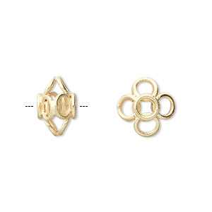 bead, vermeil, 10x8mm rondelle with open flower design. sold per pkg of 4.