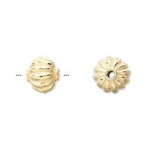 bead, vermeil, 12x10mm ribbed saucer. sold per pkg of 4.