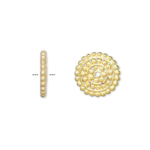 bead, vermeil, 13x2mm rondelle with design. sold per pkg of 4.