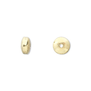 bead, vermeil, 8mm smooth saucer. sold per pkg of 8.