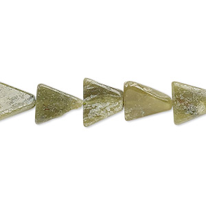 bead, vesuvianite (natural), 10x10x9mm-14x14x11mm hand-cut flat triangle, c grade, mohs hardness 6-1/2. sold per 13-inch strand.