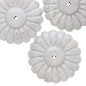 bead, vintage german acrylic, marbled grey and white, 29x10mm flower. sold per pkg of 6.