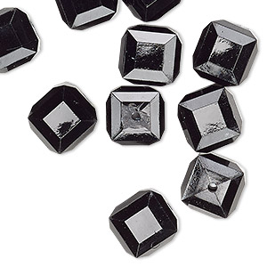 bead, vintage german acrylic, opaque black, 10x10mm beveled cube. sold per pkg of 10.
