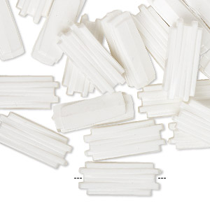 bead, vintage german acrylic, opaque white, 18x8mm textured rectangle. sold per pkg of 24.