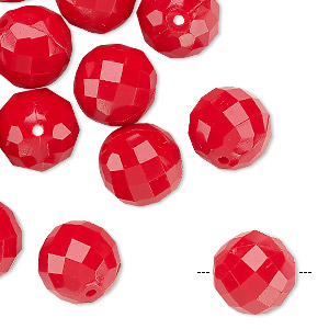 bead, vintage german acrylic, red, 12mm faceted round. sold per pkg of 24.